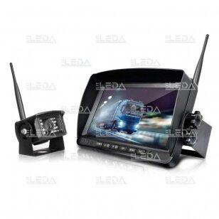 Belaidė vaizdo stebėjimo sistema (kamera 453709101, 7 colių monitorius, 4 kanalai, 12-24V)
