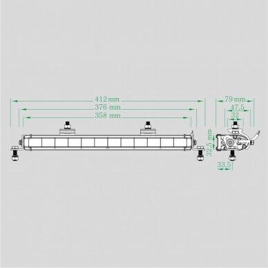 LED BAR Sertifikuotas Žibintas 60W 5040lm siauro L=36cm 5
