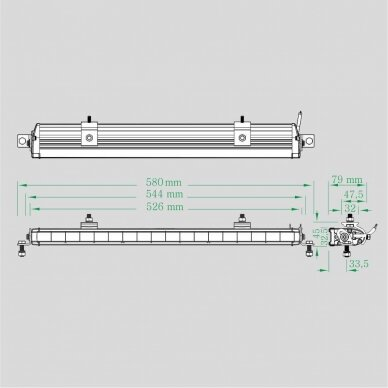 LED BAR Sertifikuotas Žibintas 90W 7560lm Driving L=53cm 6