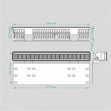 LED BAR Sertifikuotas žibintas su laikikliu 50W 4000lm L=38cm 5