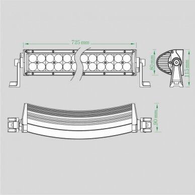 LED BAR Žibintas 180W 20000lm Combo L=89cm 9