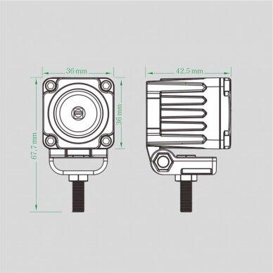 LED mini darbo žibintas 10W, (plataus spindulio) R10, EMC 7