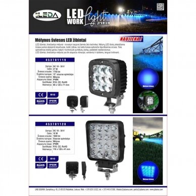 LED darbo žibintas 16W; (mėlyno siauro spindulio) 5
