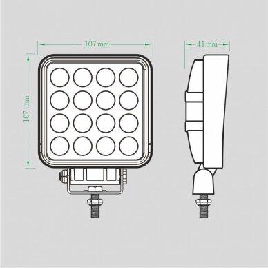 LED darbo žibintas 16W; (mėlyno siauro spindulio) 8