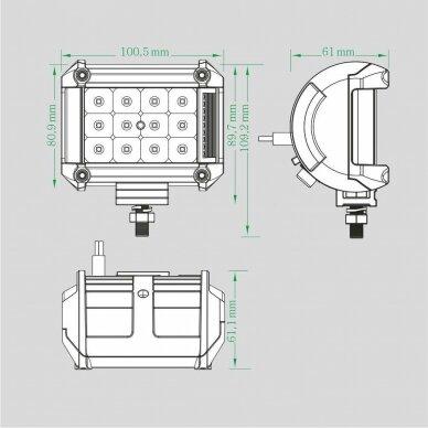 LED Darbo Žibintas 18W Kombinuoto spindulio 7