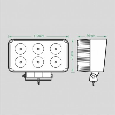 LED Darbo Žibintas 18W Plataus spindulio EMC 5