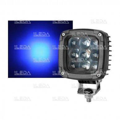 LED darbo žibintas 27W (mėlynas, kvadratinis korpusas)