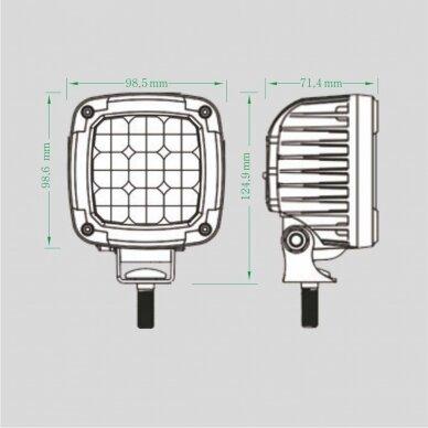 LED darbo žibintas 27W (mėlynas, kvadratinis korpusas) 7