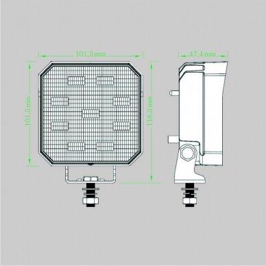 LED darbo žibintas su ON/OFF jungikliu 35W, OSRAM P8, plataus spindulio 8