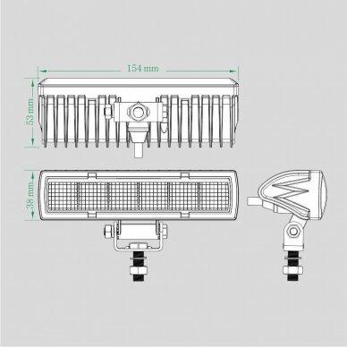 LED darbo žibintų komplektas 2x18W; combo; su pajungimo laidais OSRAM; R112, R10, EMC 10