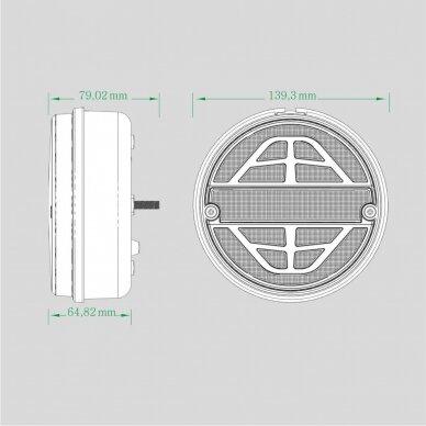LED galinis žibintas su 3 funkcijomis, 12-24V (kairinis) 9