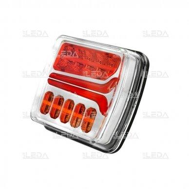 LED Galinis Žibintas 4 funkc., 12-24V, 110x103mm, dešininis