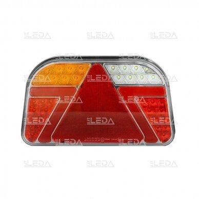 LED Galinis Žibintas 6 funkc., 12-24V, 241x140mm, kairinis