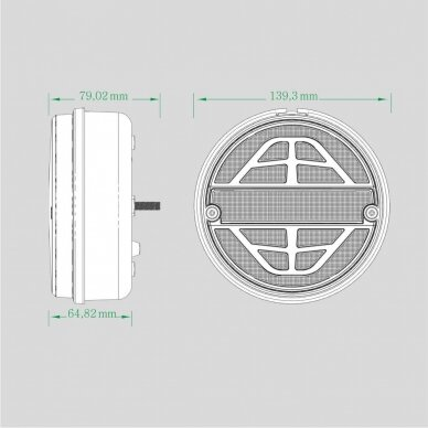 LED galinis žibintas su 3 funkcijomis, 12-24V (dešininis) 9