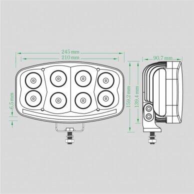 LED Sertifikuotas Žibintas 64W Kombinuoto spindulio EMC DRL 8