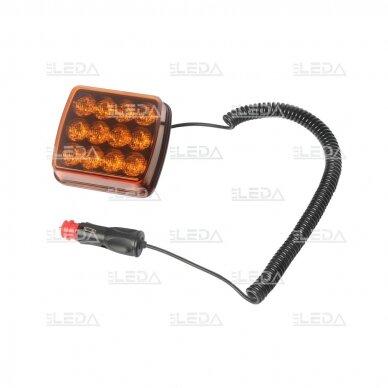 LED švyturėlis oranžinis, 10W, 12V-24V