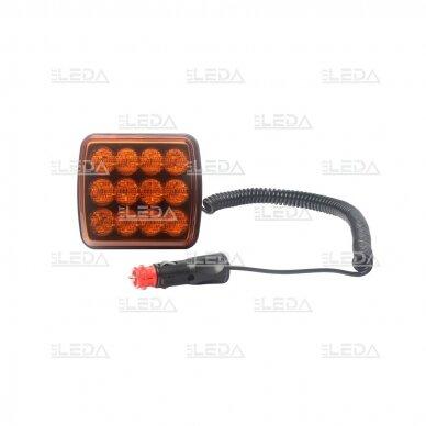 LED švyturėlis geltonas, 10W, 12V-24V 2