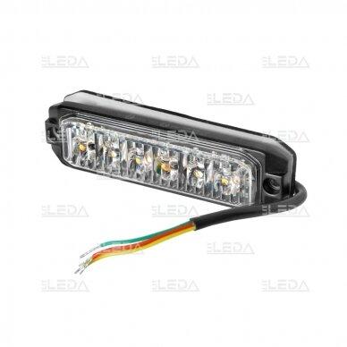 LED švyturėlis geltonas, 18W LED, 12/24V 2