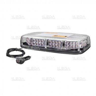 Sertifikuotas LED švyturėlis BAR oranžinis stiprus magnetinis padas 275x160x50mm, 12V-24V