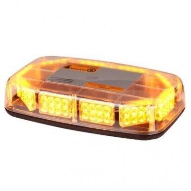 Sertifikuotas LED švyturėlis BAR oranžinis stiprus magnetinis padas 275x160x50mm, 12V-24V 2