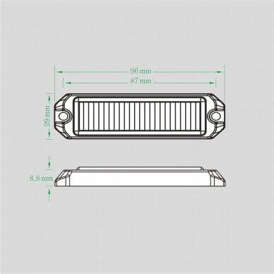 Sertifikuotas LED švyturėlis geltonas tvirtinamas varžtais, 12W, 12V-24V 2
