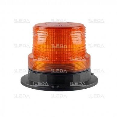 Sertifikuotas LED švyturėlis oranžinis su magnetiniu padu 12V-24V 3