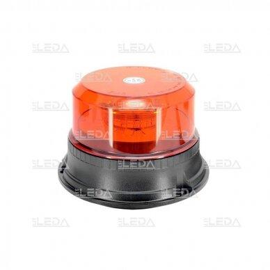 Sertifikuotas LED švyturėlis oranžinis su magnetiniu padu 12V-24V 2