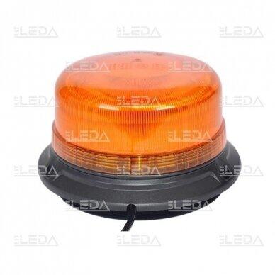 Sertifikuotas LED švyturėlis oranžinis su magnetiniu padu ECE-R65, R10 12V-24V 2