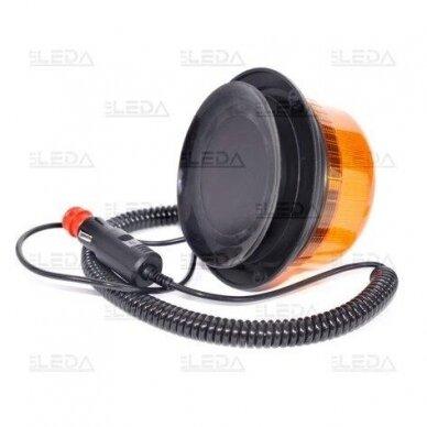 Sertifikuotas LED švyturėlis oranžinis su magnetiniu padu ECE-R65, R10 12V-24V 4
