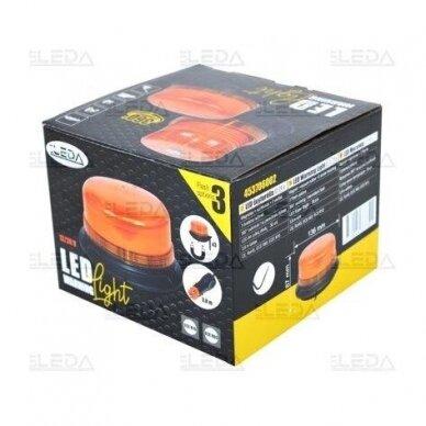 Sertifikuotas LED švyturėlis oranžinis su magnetiniu padu ECE-R65, R10 12V-24V 6