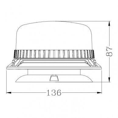 Sertifikuotas LED švyturėlis oranžinis su magnetiniu padu ECE-R65, R10 12V-24V 7