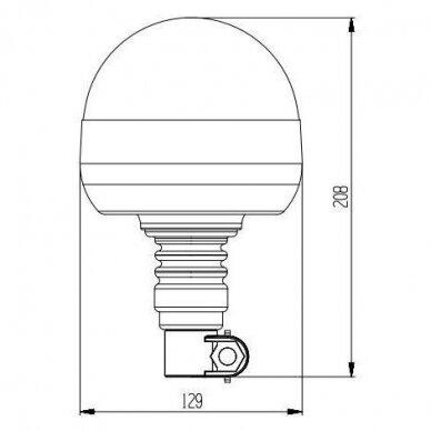 Sertifikuotas LED švyturėlis oranžinis tvirtinimas ant vamzdžio 12V-24V 3