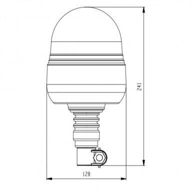 Sertifikuotas LED švyturėlis oranžinis tvirtinimas ant vamzdžio R10, 12V-24V 3
