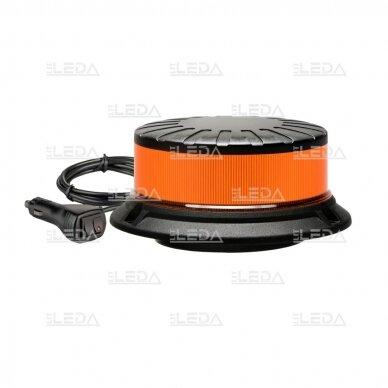 Sertifikuotas mini LED švyturėlis oranžinis su magnetu ir prisukamas ECE-R65, R10, 12V-24V 2