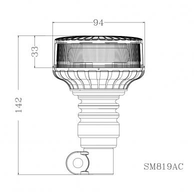 Sertifikuotas mini LED švyturėlis oranžinis tvirtinimas ant vamzdžio ECE-R65, R10, 12V-24V 4