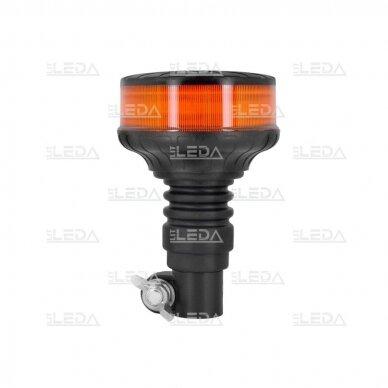 Sertifikuotas mini LED švyturėlis oranžinis tvirtinimas ant vamzdžio ECE-R65, R10, 12V-24V 2